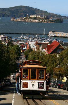 Cable car and Alcatraz, San Francisco landmarks