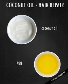1. Hair Repair:  1tbs coconut oil and 1 whole egg. - Beat egg and add coconut oil. Apply mixture to scalp and hair well. Let sit 15 minutes. Rinse well with cool water and shampoo hair with mild shampoo.