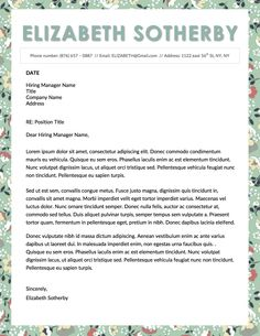 Elizabeth Sotherby Resume Template For Microsoft Word  Elizabeth