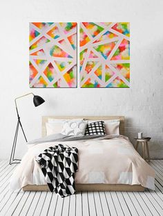 Diptych painting Abstract art modern painting by PooArtGallery