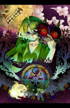 MAJORA'S MASK by 水梦 (すいむ) >>> o.o I can tell by context that this is clearly supposed to be themed towards the actual game, but those black sclera on Link make me shudder. High Fantasy, Legend, Game Art, Triforce, Illustration, Zelda Art, Artwork, Anime, Fan Art