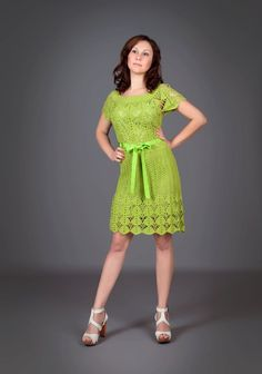 Green yellow spring-summer exclusive crochet dress http://www.etsy.com/listing/99022263/green-yellow-spring-summer-exclusive