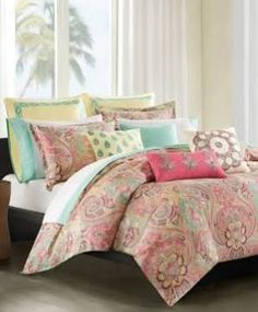 coral and teal floral comforter - Google Search
