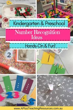 Teachers can never have enough Kindergarten Number Recognition Activities for their kids. Check out these FUN hands-on ideas to get kids motivated to learn! Numbers Kindergarten, Teaching Numbers, Numbers Preschool, Homeschool Kindergarten, Preschool Activities, Preschool Learning, Classroom Freebies, Classroom Activities, Learning Activities