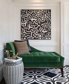 Living room velvet green