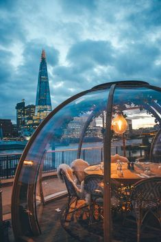 View of the Shard from Coppa Club, London - eat in an igloo