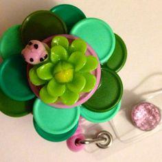 Spring Green Flower Flip Top Retractable ID Badge Reel on Etsy, $16.50