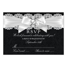 Shop Black & White Damask & Pearl Bow RSVP created by Zizzago. Black And White Wedding Invitations, Elegant Wedding Invitations, Wedding Themes, White Damask, Invitation Paper, Response Cards, Rsvp, Bridal Shower, Bows