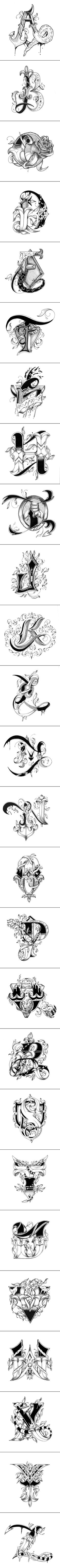 Love Letters Alphabet Hand Drawn by Raul Alejandro - For typography Lovers... #Letteringalphabet #letteringdesign #letteringdesignideas