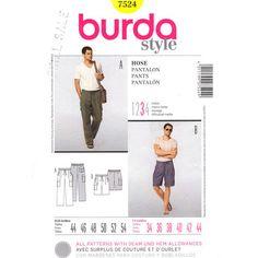 Burda 7524 Mens Loose Cargo Pants or Shorts Pattern UNCUT Size 34 to 44, $8.75