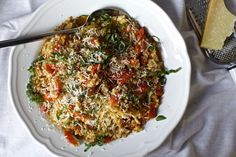"""One-pan, hands off, ridiculously good farro that doesn't taste [sotto voce] """"wholesome"""" at all, hooray."""