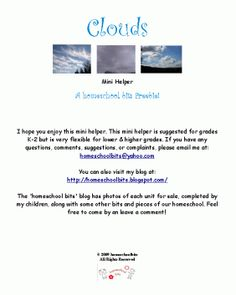 Free Clouds Mini Unit Study