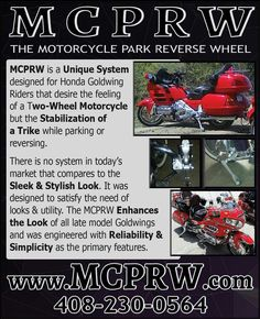 We found this new product for our Goldwing riders. It's a motorcycle park reverse wheel and only available through www.mcprw.com. It's a stabilization system that assists 2-wheel riders with parking or while in reverse. Check it out! #flbd #bikerbuzz #delawarebikers #marylandbikers #delmarvabikers #virginiabikers #baltimorebikers #motorcycle #pabikers #njbikers #hondagoldwing #seniorbiker #trike #trikes #goldwing #goldwinglife