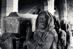 """the journey by jonnybaker, via Flickr """"amazing sculpture there in st mary's church of monks carrying the body of st cuthbert to the mainland en route to durham. it's an extraordinary sculpture - i found it utterly compelling. apparently it was largely made by chainsaw - the artist is fenwick lawson."""""""