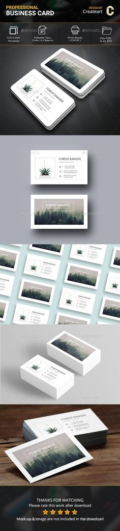 Buy Forest Ranger Business Card by Createart on GraphicRiver. This Is Clean Business Card Template. Flexibility of Business Car. Business Card Maker, Make Business Cards, Custom Business Cards, Professional Business Cards, Business Card Design, Templates Printable Free, Print Templates, Bussiness Card, Branding Design
