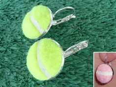 Real Tennis Ball Earrings - Handmade Earrings From a Yellow or Pink Tennis Ball on Etsy, $29.99