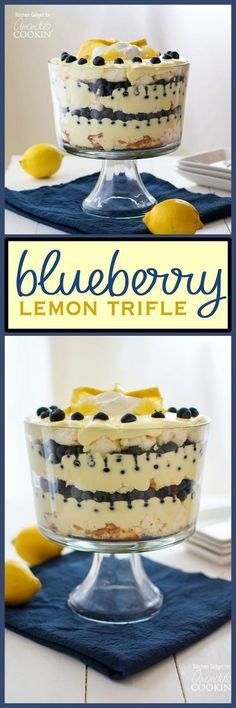 Juicy blueberries and bright lemon pudding combine in a stunning dessert. This m… Juicy blueberries and bright lemon pudding combine in a stunning dessert. This mouthwatering lemon blueberry trifle is impressive yet incredibly easy! Blueberry Trifle, Blueberry Recipes, Lemon Recipes, Sweet Recipes, Cake Recipes, Dessert Recipes, Lemon Trifle, Lemon Blueberry Cupcakes, Dessert Ideas