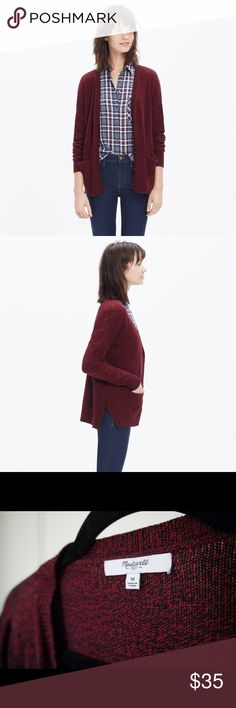 "Maroon Burgundy Madewell Marled Landscape Cardigan Color ""marled wine."" A cozy maroon/burgundy cardigan sweater in our favorite supersoft yarn. With pockets and cool open side slits, it's the perfect jeans plus-one. True to size. Cotton/viscose/nylon. Madewell Sweaters Cardigans"