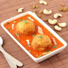 Malai Kofta Curry - Fresh Cream and Cashew-nut Stuffed Potato Balls in Spicy Tomato based Gravy