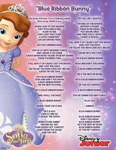 Blue Ribbon Bunny Song From Sofia The First. Sofia The First Songs, Sofia The First Cake, Princess Sofia The First, One Song Lyrics, Song One, Princess Sofia Birthday, Princess Party, Princess Songs, Disney Princess