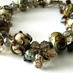Lampwork beaded bracelet crystal antiqued by PacificJewelryDesign, $142.00