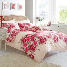 Catherine Lansfield Grace Red Duvet & Pillowcase Set - This great value bedding has a fabulous floral print. The bright red flowers adorning the duvet cover and pillowcases will freshen up any bedroom! £20. #catherineLansfield #bedlinen #sleep