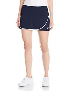 ASICS Club Tennis Skort. Fabric provides enhanced moisture wicking and breathability. Inner short with all-over print. Front wrap with binding detail enhances comfort and style. Contrast color branding for added styling accents.