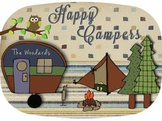 Personalized platter Camping Family Melamine by Waywithword
