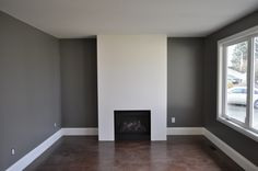 benjamin moore Chelsea gray TV room New house powder room Dining Room Paint, Favorite Paint Colors, Grey Paint Colors, Home Reno, Bedroom Colors, Grey Walls, My Dream Home, Living Room Decor, Interior Decorating