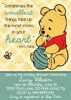 Winnie the Pooh Baby Shower Invitation - Printable - The Smallest Things - Gender Neutral, Boy, Girl, via Etsy.