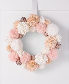 Holiday Lane Dreamland Pink Pom Pom Fabric Wreath, Created for Macy's Yarn Crafts, Fabric Crafts, Diy And Crafts, Crafts For Kids, Arts And Crafts, Preschool Crafts, Christmas Home, Christmas Wreaths, Christmas Crafts