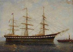 """""""Het clipperfregatschip 'Amphitrite' van rederij A. Hendrichs & Co"""". Greiner, A., 1890  Het Scheepvaartmuseum"""