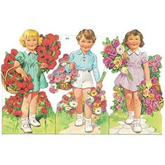 Large Boy and Girls with Flowers Colorful Scraps ~ Vintage MLP ~ England Vintage Cards, Vintage Paper, Girls With Flowers, Mothers Day Crafts, Fabric Paper, Vintage Ornaments, Paper Roses, Back In The Day, Fabric Flowers
