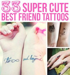 33 Super Cute Best Friend Tattoos these would be perfect temporary tattoos for a party!