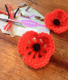 Crochet Poppy Brooches for Rememberance Day - Handmade with love and only £2.50!! in my etsy store :) *20% of all proceedings goes to the Poppy Appeal charity*