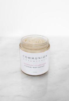 Communion Botanicals Geranium + Clary Sage Body Butter Candle Jars, Candles, Clary Sage, Body Butter, Geraniums, Communion, Skincare, Desserts, Salvia