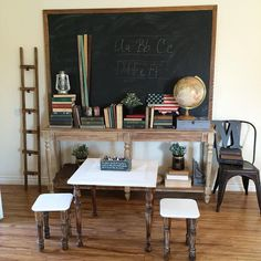 DIY chalkboard: how to convert white dry erase board into a chalkboard. Play room, rustic, vintage farmhouse, homeschool space