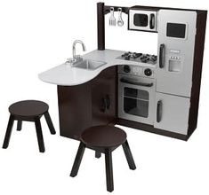 Can't decide which kitchen set we like best! Here's one of our top choices. KidKraft Modern Corner Kitchen w/Stools - Espresso Diy Play Kitchen, Toy Kitchen, Kitchen Sets, Kidkraft Kitchen, Real Kitchen, Play Kitchens, Toys For Girls, Kids Toys, Diy For Kids
