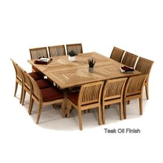 Foot Linear Teak Table With Chairs And Backless Benches By Barlow - 72 x 72 square dining table