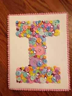 Button letter I Button Initial, Button Letters, Button Art, Button Crafts, Art Projects, Projects To Try, Alphabet Soup, Christening Gifts, Diy For Girls