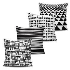 Conjunto 4 Almofadas Decorativas Geometricas - BLACK WHITE-16