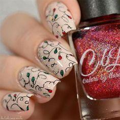15 Christmas Lights Nail Art Designs & Ideas