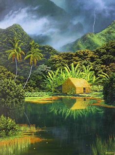 Harry Wishard's breath-taking paintings of the natural untouched beauty of Hawaii are every person's fantasy of getting away from it all. Hawaiian Art, Tropical Art, Jungle Theme, Nature Paintings, Environmental Art, South Pacific, Love Art, Vintage Posters, Sculptures