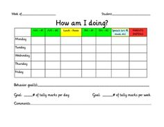From TEACH123  It's easy to document student's behavior with this weekly chart.  FREE