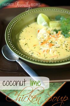 As soon as the temperature starts to cool all I want is soup, this coconut lime chicken soup really hit the spot! It is so fresh and flavorful, and not a really heavy or thick soup, making it perfect Thai Coconut Soup, Coconut Lime Chicken, Thai Soup, Coconut Oil, Korma, Biryani, Soup Recipes, Cooking Recipes, Healthy Recipes