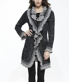 This Simply Couture Black Wool-Blend Ruffle-Trim Open Cardigan by Simply Couture is perfect! #zulilyfinds