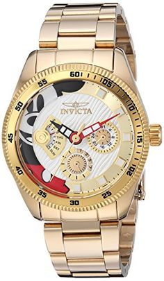 Invicta Women's Disney Limited Edition Quartz Watch with Stainless-Steel Strap, Gold, 20 (Model: Elegant Watches, Beautiful Watches, Cool Watches, Watches For Men, Unusual Watches, Datejust Rolex, Mickey Watch, Disney Collection, Silver Pocket Watch