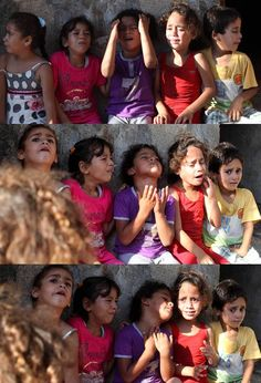7 young sisters from Gaza say goodbye to their only brother who is now a martyr. Free free Palestine . .  #Gaza_under_attack