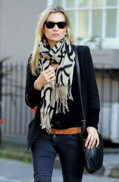 black shirt + black blazer + graphic scarf + tan belt + dark jeans // @dressmeSue