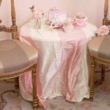 Pink and Cream Silk Dupioni Fabric